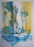 """Crossing the Hellespont"" by Noonie Minogue, Artist Print, mult-plate dry point, monoprint and chine colle"