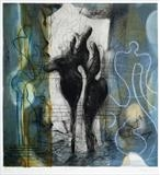 """The Sceptic"" by Noonie Minogue, Artist Print, dry point, chine colle and monotype"